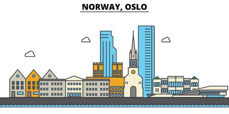 ノルウェー、オスロ市のスカイライン: 建築、建物、通り、シルエット、風景、パノラマ、ランドマーク。編集可能なストローク フラットなデザイ