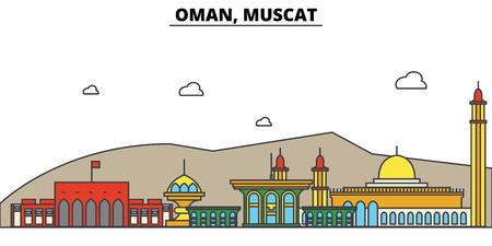 Oman, Muscat City skyline: architecture, buildings, streets, silhouette, landscape, panorama, landmarks. Editable strokes flat design line vector illustration concept.