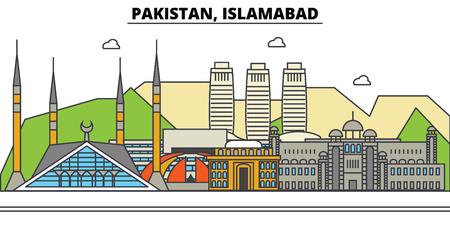 パキスタン、イスラマバードの都市のスカイライン: 建築、建物、通り、シルエット、風景、パノラマ、ランドマーク。編集可能なストロークフラッ