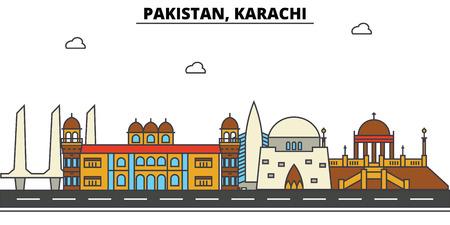 パキスタン、カラチ都市のスカイライン: 建築、建物、通り、シルエット、風景、パノラマ、ランドマーク。編集可能なストロークフラットデザイン