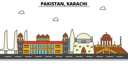 Pakistan, Karachi City skyline: architecture, buildings, streets, silhouette, landscape, panorama, landmarks. Editable strokes flat design line vector illustration concept.