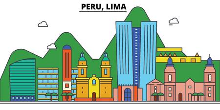 ペルー、リマ市のスカイライン: 建築、建物、通り、シルエット、風景、パノラマ、ランドマーク。編集可能なストロークフラットデザインラインベ