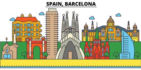 스페인, 바르셀로나 도시의 스카이 라인 : 건축물, 건물, 거리, 실루엣, 스케이프, 파노라마, 랜드 마크. 편집 가능한 스트로크 플랫 디자인 라인 벡터
