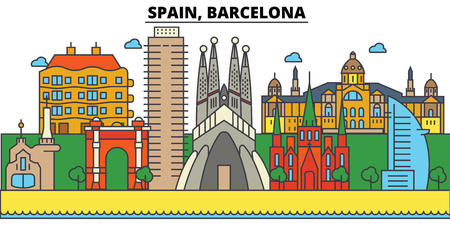 Spain, Barcelona City skyline: architecture, buildings, streets, silhouette, landscape, panorama, landmarks. Editable strokes flat design line vector illustration concept.