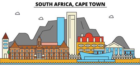 南アフリカ、ケープタウンの都市のスカイライン: 建築、建物、通り、シルエット、風景、パノラマ、ランドマーク。編集可能なストロークフラット