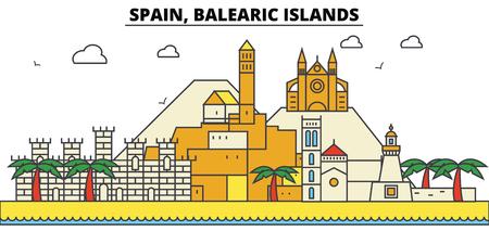 스페인, Balearis 제도 도시의 스카이 라인 : 아키텍처, 건물, 거리, 실루엣, 프리, 파노라마, 랜드 마크. 편집 가능한 스트로크 플랫 디자인 라인 벡터 일