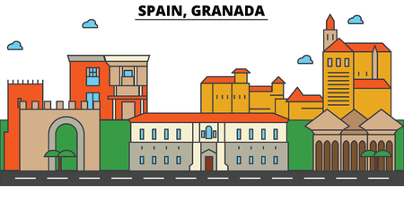 スペイン、グラナダ市街のスカイライン: 建築、建物、通り、シルエット、風景、パノラマ、ランドマーク。編集可能なストローク。フラットなデザ  イラスト・ベクター素材