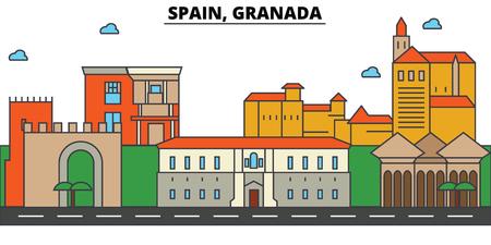 Spain, Granada City skyline: architecture, buildings, streets, silhouette, landscape, panorama, landmarks. Editable strokes. Flat design line vector illustration concept.