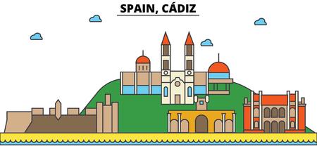 スペイン、カディスの街のスカイライン: 建築、建物、通り、シルエット、風景、パノラマ、ランドマーク。編集可能なストローク。フラットなデザ