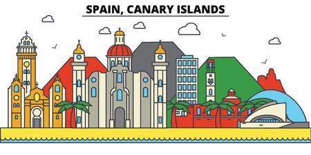 스페인, 카나리아 제도 도시의 스카이 라인 : 아키텍처, 건물, 거리, 실루엣, 프리, 파노라마, 랜드 마크. 편집 가능한 스트로크. 플랫 디자인 라인 벡터