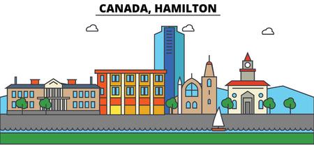 Canada, Hamilton City skyline: architecture, buildings, streets, silhouette, landscape, panorama, landmarks. Editable strokes. Flat design line vector illustration concept. Illustration