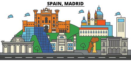 スペイン、マドリードの街のスカイライン: 建築、建物、通り、シルエット、風景、パノラマ、ランドマーク。編集可能なストローク。フラットなデ
