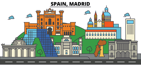 Spain, Madrid City skyline: architecture, buildings, streets, silhouette, landscape, panorama, landmarks. Editable strokes. Flat design line vector illustration concept.