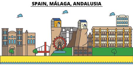 スペイン、マラガ、アンダルシア都市のスカイライン: 建築、建物、道路、シルエット、風景、パノラマ、ランドマーク。編集可能なストローク。フ
