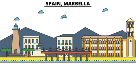 Spain, Marbella City skyline: architecture, buildings, streets, silhouette, landscape, panorama, landmarks. Editable strokes. Flat design line vector illustration concept.