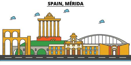 스페인, Merida시 스카이 라인 : 건축물, 건물, 거리, 실루엣, 스케이프, 파노라마, 랜드 마크. 편집 가능한 스트로크. 플랫 디자인 라인 벡터 일러스트 레 일러스트
