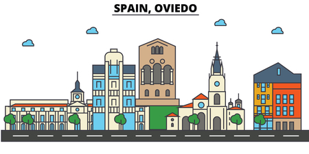 스페인, 오비에시 스카이 라인 : 건축물, 건물, 거리, 실루엣, 스케이프, 파노라마, 랜드 마크. 편집 가능한 스트로크. 플랫 디자인 라인 벡터 일러스트