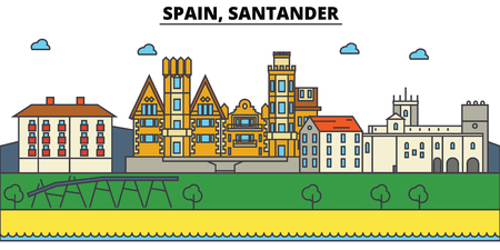 Spain, Santander City skyline: architecture, buildings, streets, silhouette, landscape, panorama, landmarks. Editable strokes. Flat design line vector illustration concept. Illustration