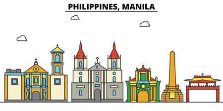 필리핀, 마닐라시 스카이 라인 : 아키텍처, 건물, 거리, 실루엣, 스케이프, 파노라마, 랜드 마크. 편집 가능한 스트로크. 플랫 디자인 라인 벡터 일러스