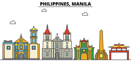 Philippines, Manila City skyline: architecture, buildings, streets, silhouette, landscape, panorama, landmarks. Editable strokes. Flat design line vector illustration concept.