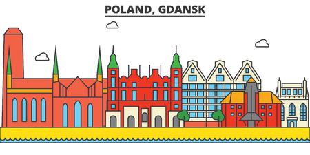 Poland, Gdansk City skyline: architecture, buildings, streets, silhouette, landscape, panorama, landmarks. Editable strokes. Flat design line vector illustration concept. Illustration