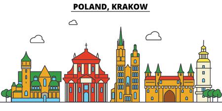 ポーランド、クラクフ市のスカイライン: 建築、建物、通り、シルエット、風景、パノラマ、ランドマーク。編集可能なストローク。フラットデザイ  イラスト・ベクター素材