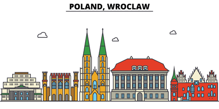 Poland, Wroclaw City skyline: architecture, buildings, streets, silhouette, landscape, panorama, landmarks. Editable strokes. Flat design line vector illustration concept.