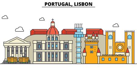포르투갈, 리스본 도시의 스카이 라인 : 아키텍처, 건물, 거리, 실루엣, 프리, 파노라마, 랜드 마크. 편집 가능한 스트로크. 플랫 디자인 라인 벡터 일러