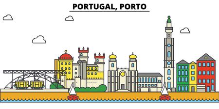 Portugal, Porto City skyline : 건축물, 건물, 거리, 실루엣, 스케이프, 파노라마, 랜드 마크. 편집 가능한 스트로크. 플랫 디자인 라인 벡터 일러스트 레이 션