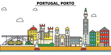 Portugal, Porto City skyline: architecture, buildings, streets, silhouette, landscape, panorama, landmarks. Editable strokes. Flat design line vector illustration concept.
