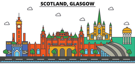 Scotland, Glasgow City skyline: architecture, buildings, streets, silhouette, landscape, panorama, landmarks. Editable strokes. Flat design line vector illustration concept.