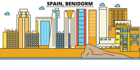 Spain, Benidorm City skyline: architecture, buildings, streets, silhouette, landscape, panorama, landmarks. Editable strokes. Flat design line vector illustration concept.