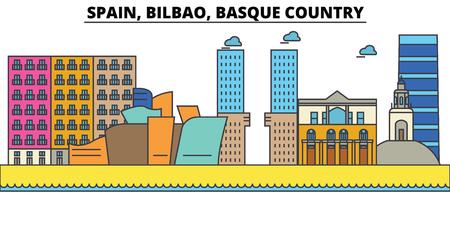 스페인, 빌바오, 바스크 국가 도시의 스카이 라인 : 아키텍처, 건물, 거리, 실루엣, 스케이프, 파노라마, 랜드 마크. 편집 가능한 스트로크. 플랫 디자인