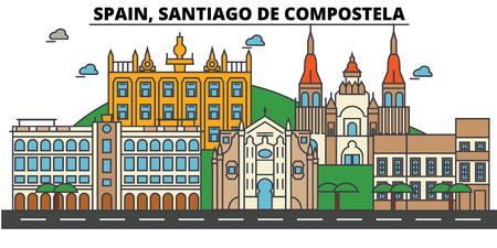 Orizzonte della città della Spagna, Santiago De Compostela: architettura, costruzioni, vie, siluetta, paesaggio, panorama, punti di riferimento. Tratti modificabili Illustrazione vettoriale di design piatto linea.