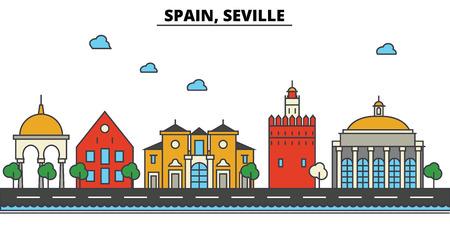 スペイン、セビリアの街のスカイライン: 建築、建物、通り、シルエット、風景、パノラマ、ランドマーク。編集可能なストローク。フラットなデザ