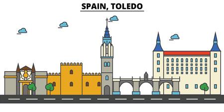 スペイン、トレド市のスカイライン: 建築、建物、通り、シルエット、風景、パノラマ、ランドマーク。編集可能なストローク。フラットデザインラ