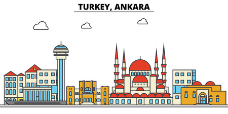 Turkey, Ankara City skyline: architecture, buildings, streets, silhouette, landscape, panorama, landmarks. Editable strokes. Flat design line vector illustration concept.