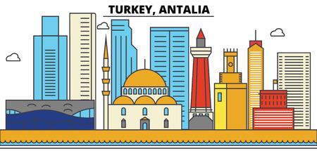 Turkey, Antalia City skyline: architecture, buildings, streets, silhouette, landscape, panorama, landmarks. Editable strokes. Flat design line vector illustration concept.