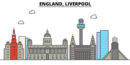 イングランド、リバプール市のスカイライン: 建築、建物、通り、シルエット、風景、パノラマ、ランドマーク。編集可能なストローク。フラットデ