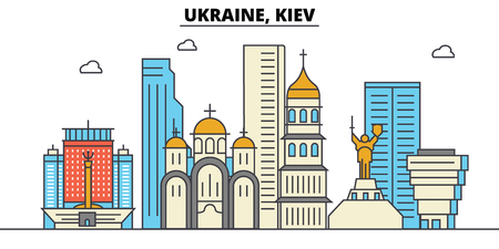 Ukraine, Kiev. City skyline: architecture, buildings, streets, silhouette, landscape, panorama, landmarks. Editable strokes. Flat design line vector illustration concept. Isolated icons