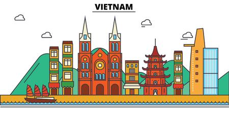 베트남 도시의 스카이 라인 : 아키텍처, 건물, 거리, 실루엣, 스케이프, 파노라마, 랜드 마크. 편집 가능한 스트로크. 플랫 디자인 라인 벡터 일러스트
