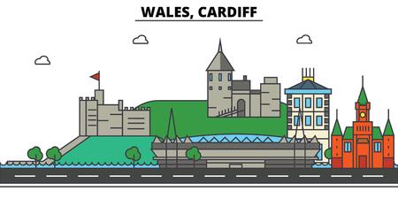 Wales, Cardiff City skyline: architecture, buildings, streets, silhouette, landscape, panorama, landmarks. Editable strokes. Flat design line vector illustration concept. Иллюстрация