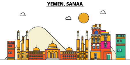 Yemen, Sanaa. City skyline: architecture, buildings, streets, silhouette, landscape, panorama, landmarks. Editable strokes. Flat design line vector illustration concept. Isolated icons