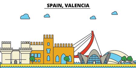 スペイン、バレンシア市のスカイライン: 建築、建物、通り、シルエット、風景、パノラマ、ランドマーク。編集可能なストローク。フラットなデザイン ラインのベクトル図の概念。 写真素材 - 85538709