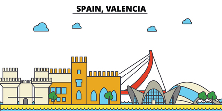Spain, Valencia City skyline: architecture, buildings, streets, silhouette, landscape, panorama, landmarks. Editable strokes. Flat design line vector illustration concept. Иллюстрация