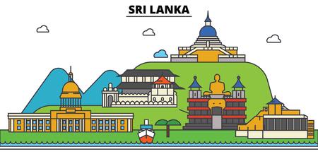 스리랑카, 스리랑카 도시 스카이 라인 : 건축물, 건물, 거리, 실루엣, 스케이프, 파노라마, 랜드 마크. 편집 가능한 스트로크. 플랫 디자인 라인 벡터 일