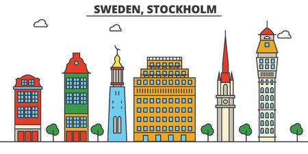 Schweden, Stockholm Skyline der Stadt: Architektur, Gebäude, Straßen, Silhouette, Landschaft, Panorama, Sehenswürdigkeiten. Bearbeitbare Striche Flaches Design Linie Vektor Illustration Konzept. Standard-Bild - 85538732