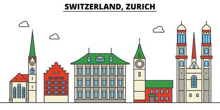 スイス、チューリッヒシティのスカイライン: 建築、建物、通り、シルエット、風景、パノラマ、ランドマーク。編集可能なストローク。フラットデ