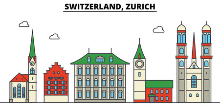 Switzerland, Zurich City skyline: architecture, buildings, streets, silhouette, landscape, panorama, landmarks. Editable strokes. Flat design line vector illustration concept. Illustration