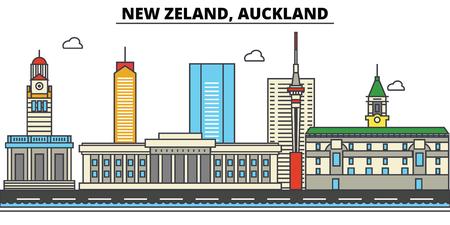 뉴질랜드, 오클랜드 시티 스카이 라인 : 건축물, 건물, 거리, 실루엣, 스케이프, 파노라마, 랜드 마크. 편집 가능한 스트로크. 플랫 디자인 라인 벡터 일